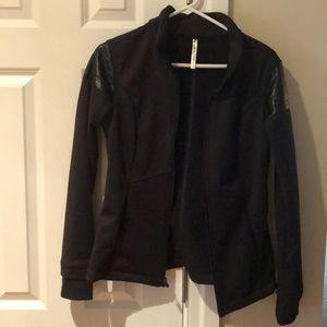 Black Fabletics faux moto jacket size small
